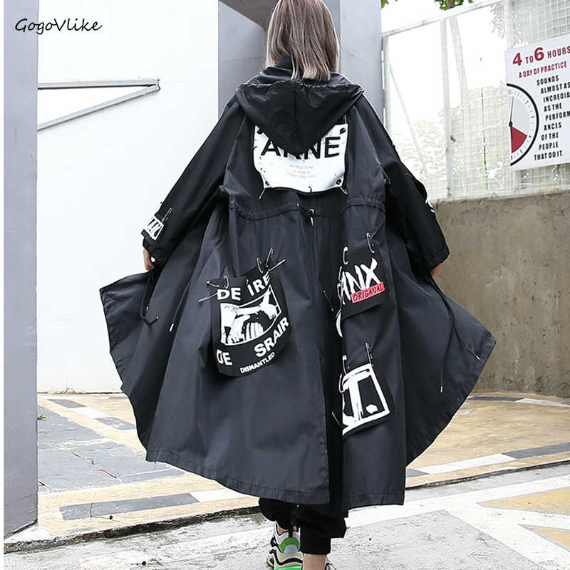 Autumn Spring Female Oversized Hooded   Trench   Coat Women New Letter Pattern Patch Designs Pins Punk Rock Casual Style LT830S50