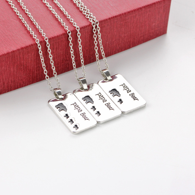 Papa Bear And 1-3 Bear Caby Rectangular Pendant Alloy Necklace Fashion Cute Parent-Child Jewelry Accessories Father Holiday Gift