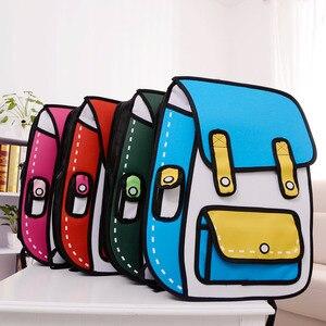 Image 5 - 2020 yeni 3D atlama tarzı 2D çizim karikatürlü kese kağıdı komik sırt çantası Messenger Tote moda sevimli öğrenci çantaları Unisex Bolos