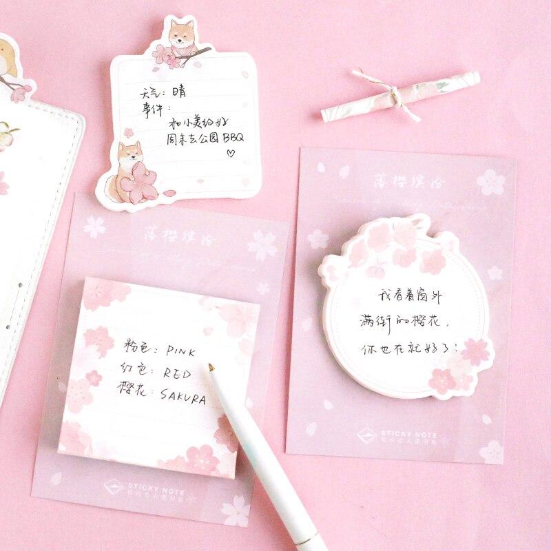 30 листов розовый Сакура и Животные блокноты для записей план сообщение письменной форме липкий маркер для заметок этикетка-наклейка 6 стиле...