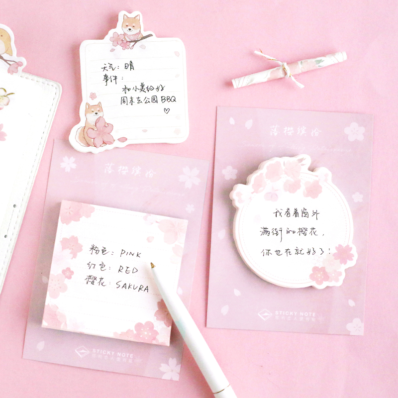 30 Sheets Pink Sakura & Animals Memo Pads Plan Message Writing Sticky Notes Marker Stick Label 6 Styles
