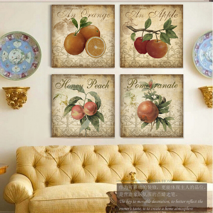 Aliexpress Com Buy Kitchen Decor Fruit Apple 4 Piece Canvas Wall Art Home Decor Painting Pictures Cafe Bar Living Room Office Duvar Tablolar From Reliable
