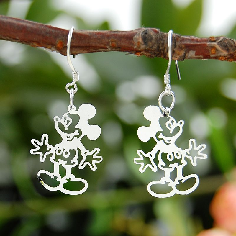 25 Sterling Silver Color Jewelry Earrings For Women Mickey Mouse earring lovely and delicate birthday gift ...