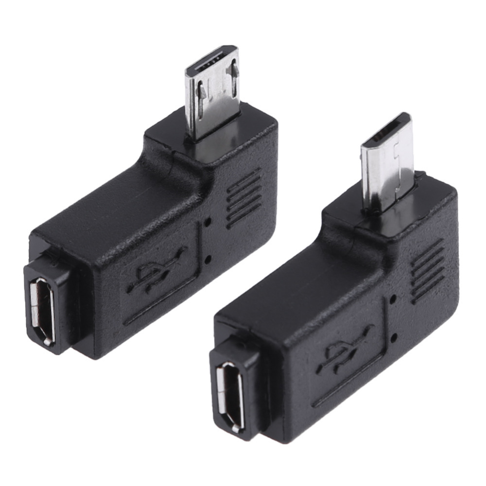 2Pcs 90 Degree Right Angle Micro USB Female To Micro USB Male Adapter Connector L Shaped Micro USB Male To Female Converter