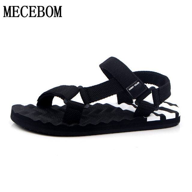 New summer fashion mens casual sandals rome style hook-loop shoes black outdoor beach eva sandals zapatos size 38-44 066M