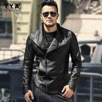 Britischen Stil Tasche Zipper Oberbekleidung Hohe Qualität Echtes Leder Revers Kragen Jacke Herren Luxus Slim Fit Kurzen Schaffell Mantel