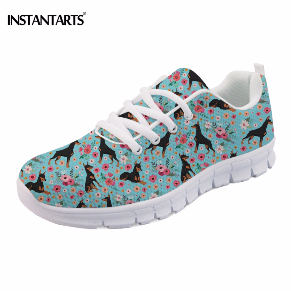 INSTANTARTS Spring Women Sneakers Casual Flats Cute Dog Doberman/King Charles Spaniel/Maltese/Greyhound Flower Pattern Flat Shoe instantarts women flats emoji face smile pattern summer air mesh beach flat shoes for youth girls mujer casual light sneakers