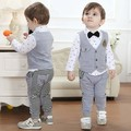 DHL EMS Free shipping baby boys Toddlers Gentlemen White Grey Stripe Suit 3pc Suit  shirt + Waistcoat + Pants Casual wear Outfit