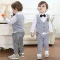 DHL EMS bebés envío libre Toddlers Señores Blanco Gris de La Raya traje 3 unid Traje camisa + Chaleco + Pantalones cortos ropa Casual Traje