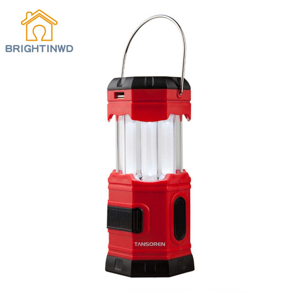BRIGHTINWD LED Solar USB Rechargeable 180 Lumens Waterproof Camping Lantern Portable Emergency Camping Lamp Tent Lanterns