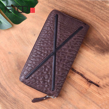 AETOO Personality original trend first layer soft leather long wallet handbag zipper money