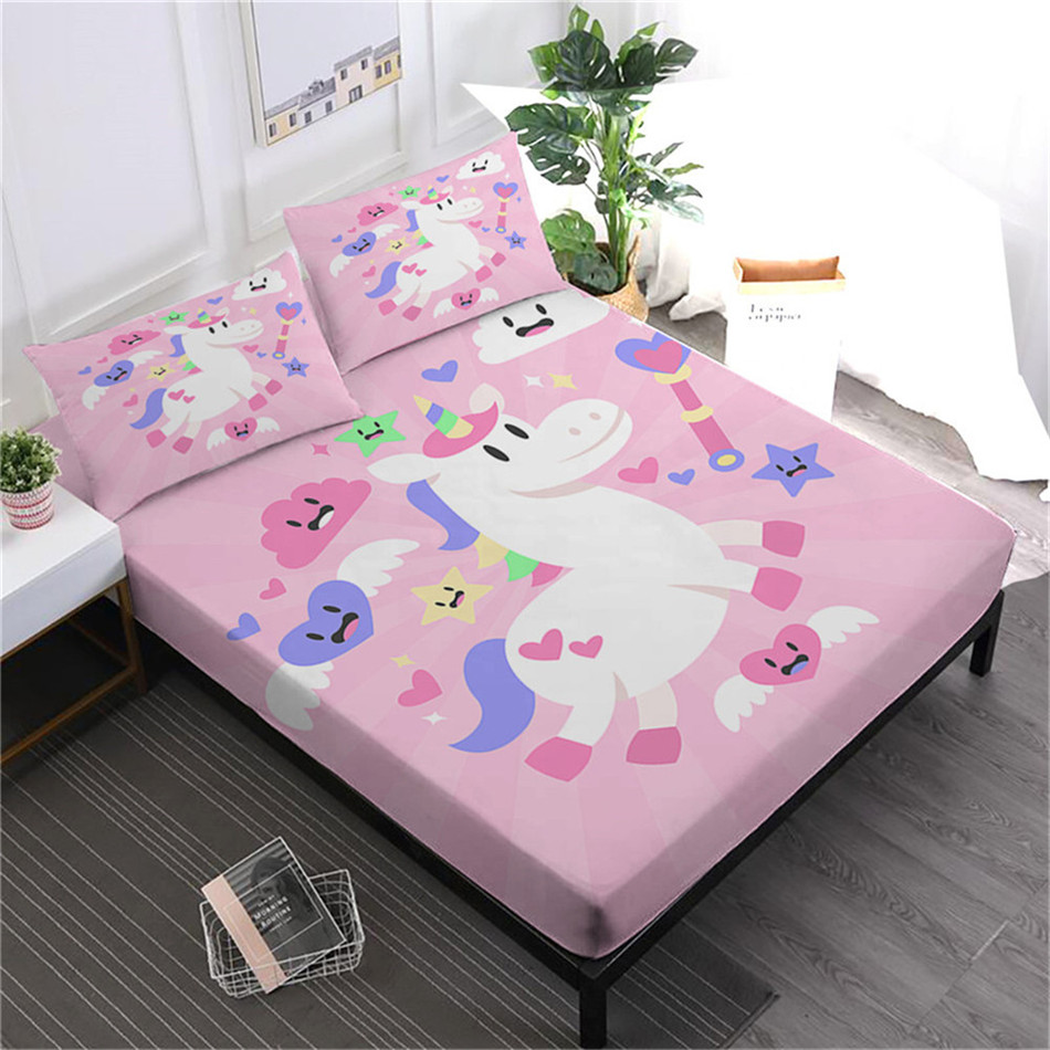Cartoon licorne draps de lit rose sac à main bleu linge de lit enfants doux drap housse coloré matelas couverture plat drap taie d'oreiller 4 pièces