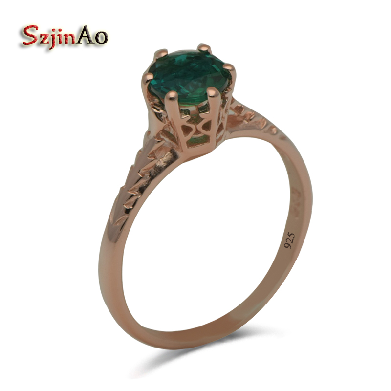 Szjinao Sole Custom Pure Natural Rose Gold Color Green Stone Crystal 925 Sterling Silver Elegant Wedding Ring Female szjinao unique custom women jewelry luxury elegant natural white zircon rose gold 925 silver wedding rings wholesale