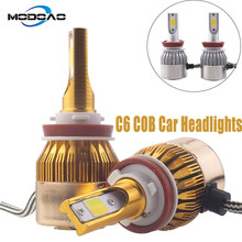 C6 White & Gold Color Car LED Lights Car Headlights 2COB Vehicle Head Bulbs 881 H1 H3 H7 H9 H11 9005 9006 6000k(China)