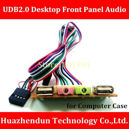 Free Shipping  Desktop Computer host case Front I/O Panel USB 2.0 AUDIO Mic headphone 3.5mm plug PC cable cord retail wholesale mic o mic конструктор автомобиль гоночный малый