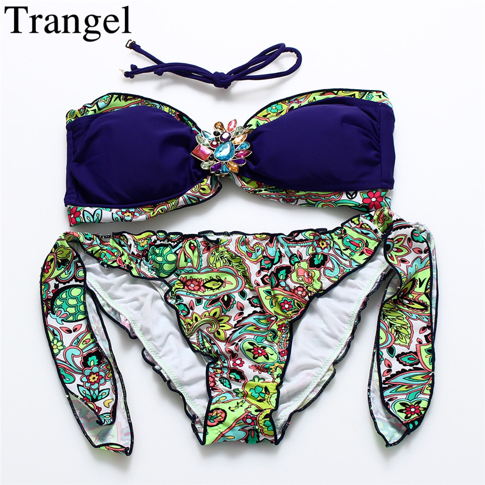 Trangel Bikini 2018 Retro Print Swimsuit Diamond Vintage Swimwear Women Halter Swimming Suit Summer Beach wear Bikini Set