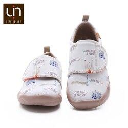 UIN Art City, diseño pintado de lona, zapatos blancos para niños, zapatos planos casuales de punta redonda suave para niños/niñas, zapatillas cómodas para exteriores
