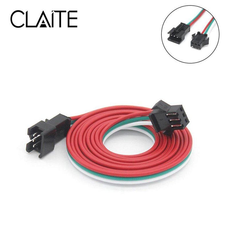 CLAITE 0.5M 1M 2M 3 Pin JST Male Female Cable WireConnector For WS2812B WS2811 SK6812 LED Strip Light
