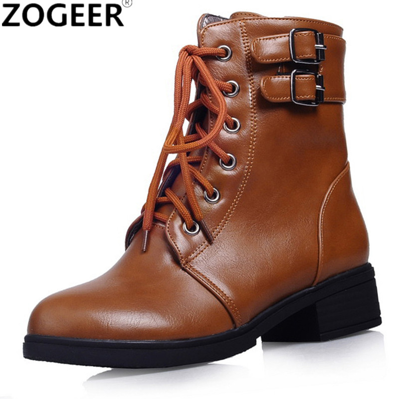 New Autumn Ankle Boots For Women Fashion Square Low Heels Women Boots Brand Buckle Lace-up White Black Ladies Shoes vintage steampunk alloy buckle lace up corset for women