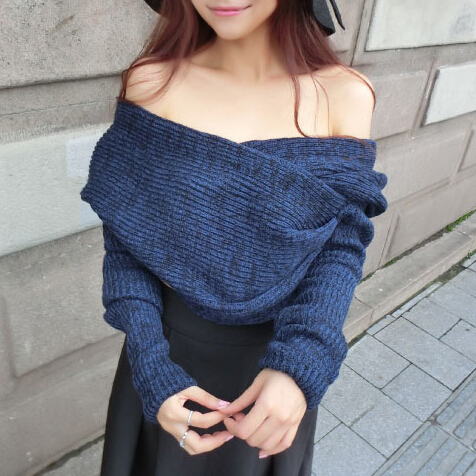 Off Shoulder Asymmetrical Crop Sweater pullover oversized batwing ...