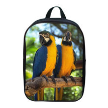 2017 Fashion Polyester 12 Inches Printing Animal Parrot Small Kids Baby School Bags Boys Mini Backpacks for Children Schoolbag(China)