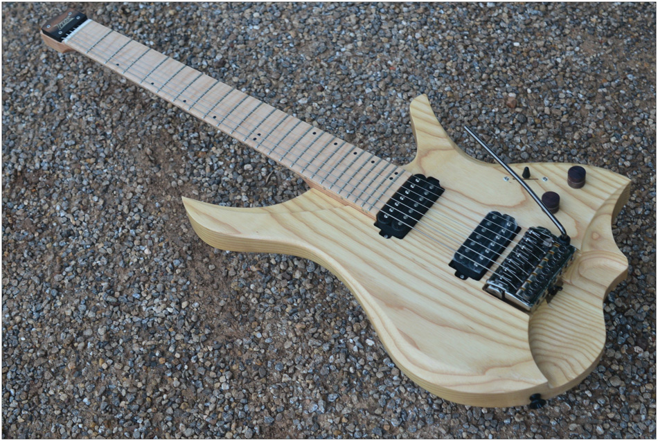 7 Strings Headless Electric Guitar steinberger style wood color Flame maple Neck in stock free shipping free shipping 5pcs oz9939gn in stock