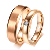 Vintage Lover's Tungsten Carbide Wedding Rings with CZ Stone 6mm Solid Rose Gold Rings for Men 4mm for Engagement Jewelry
