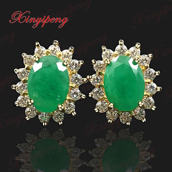 18 К желтого золота с натуральным изумрудом серьга серьги зеленый Fine Jewelry Диана пункт