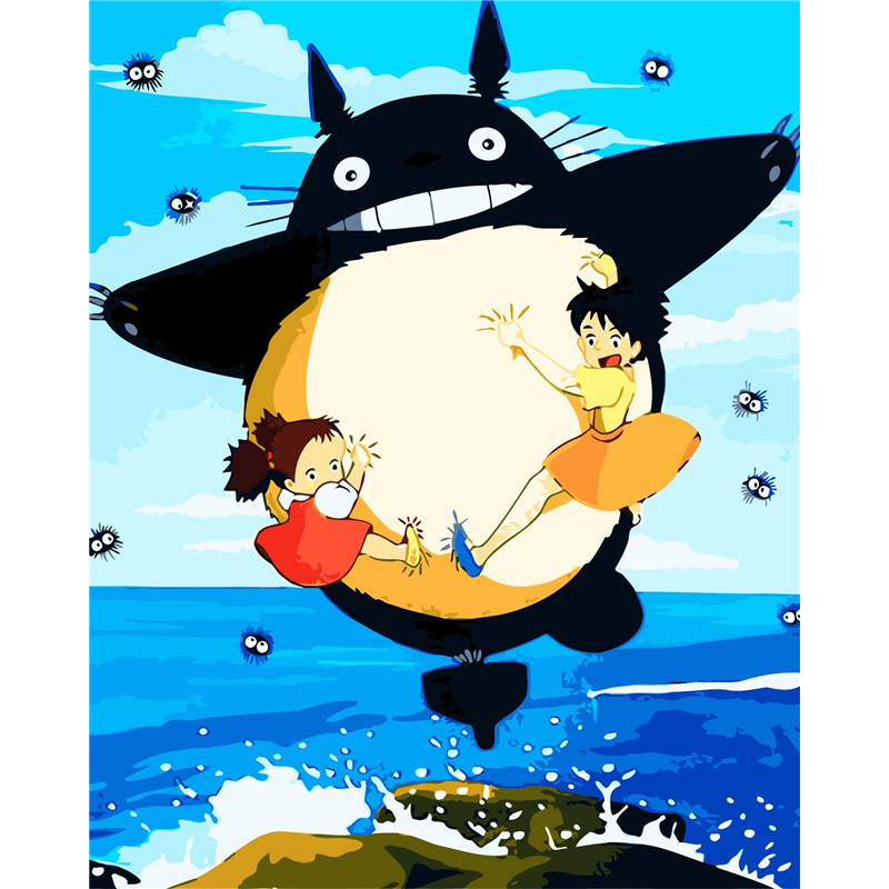 Frameless Animal Totoro DIY Coloring Oil Painting By Numbers Kits Drawing  Paint On Canvas For Wall Art Picture For Living Room