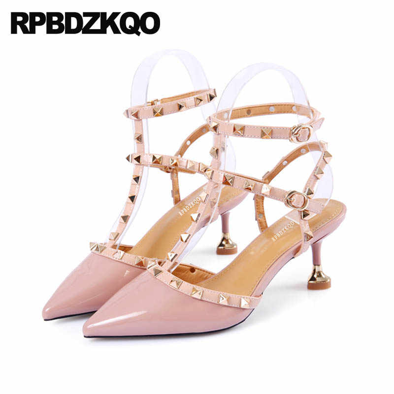6b9a2734584 Pumps High Heels Rock Stud Shoes Slingback Rivet T Strap Sandals Designer  Women Roman Pink Stiletto