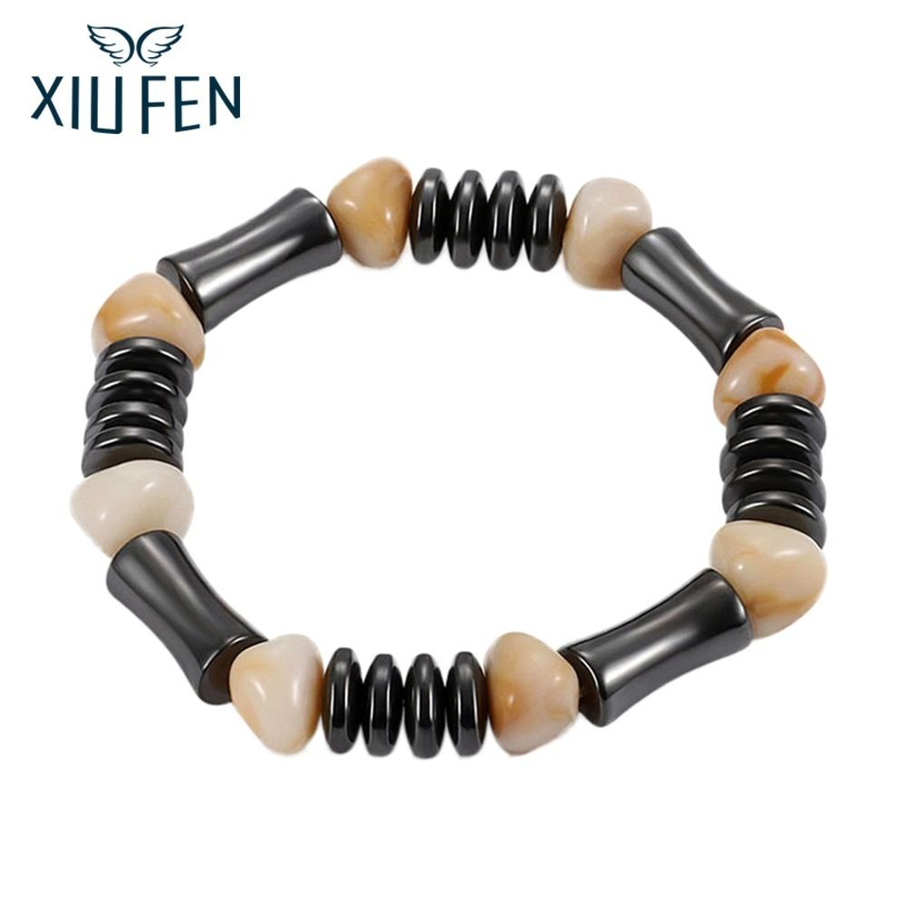 XIUFEN Fashionable Magnetic Black Stone Bracelet Exquisite String Beads Ornament Valentine's Day Birthday Gift For Women Men ZK3