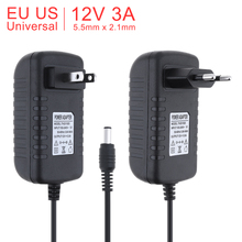 100-240V AC to DC Power Adapter Power Supply Charger Charging Adapter 12V 3A US EU Plug 5.5mm x 2.1mm недорого