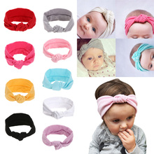 Baby girls Tie Knot Headband Knitted Cotton Children Girls elastic hair bands Turban bows for girl Headbands Hair Accessories
