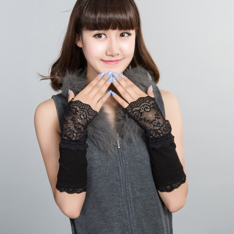 Autumn And Winter Lace Gloves Korean Version Of The Long Combed Cotton Warm Fashion Wild Knit Arm Sleeve Cuff