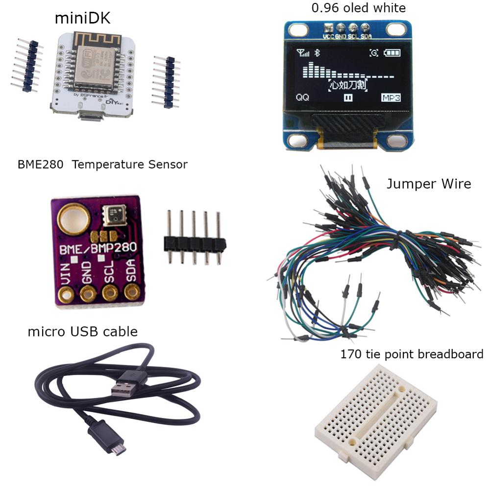 MiniDK Weather Station Kit (MiniDK +0.96 OLED+Breadboard+65pcs Jump Wire+Micro USB Cable+ BME280 Humidity Temperature Sensor)