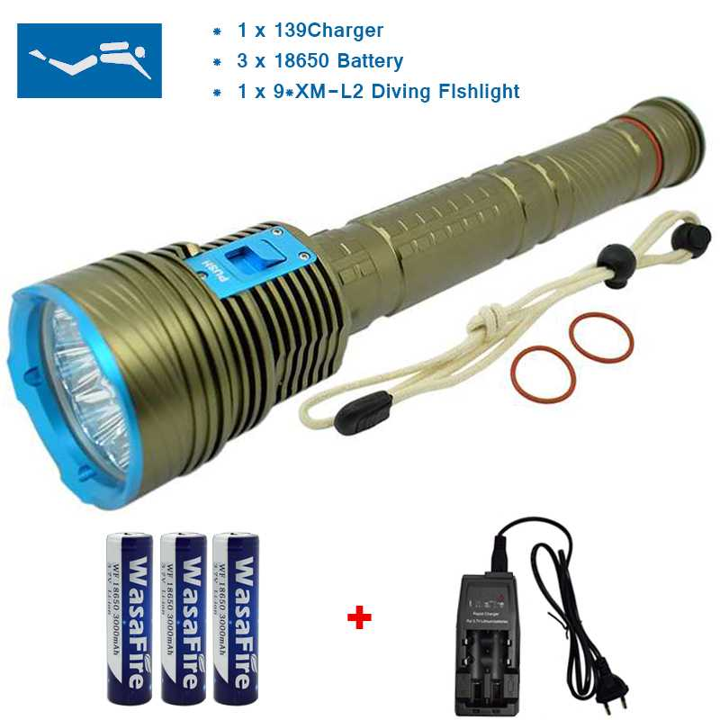 Powerful 9 x XML L2 20000 Lumens LED Diving Flashlight Underwater 100M Waterproof Scuba Flash Light Torch 18650 Battery Charger led cree xm l2 powerful scuba diving flashlight xml l2 archon hunting underwater light rechargeable torch 18650 or 26650 battery