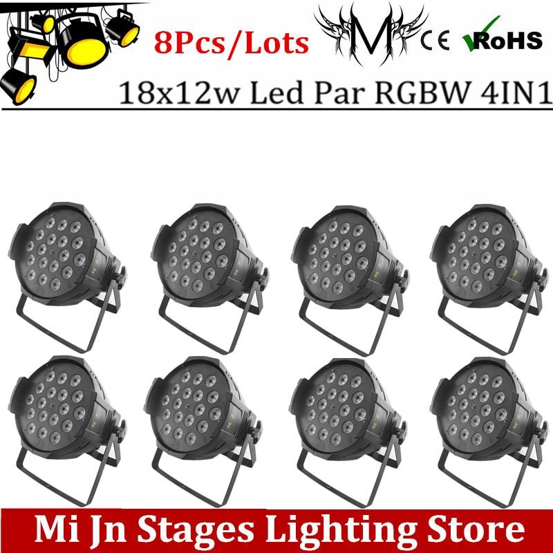 ФОТО 8pcs/lot Led Par Light 18x12W 4in1 RGBW Aluminum LED Par Can Disco Lamp Stage Lights Luces Discoteca Laser Beam Luz de Projector
