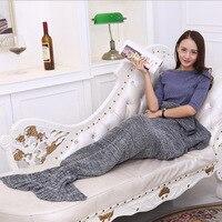 Yarn Knitted Mermaid Tail Blanket Super Soft Sleeping Bed Handmade Crochet Anti-Pilling Portable Blanket For Adults kids RDA003