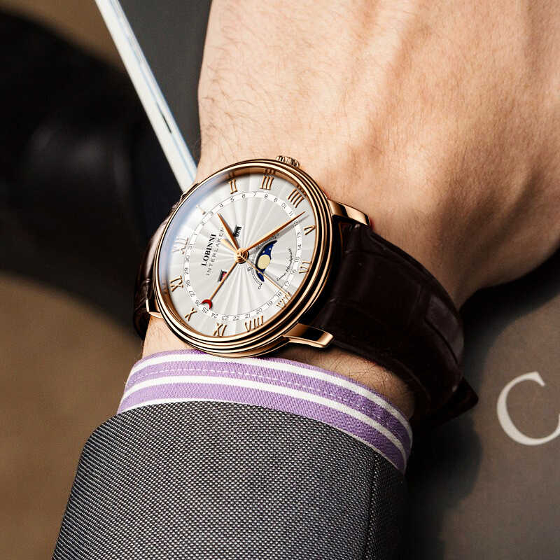 Szwajcaria LOBINNI mężczyźni luksusowej marki zegarek kwarcowy mężczyźni Sapphire wodoodporna faza księżyca japonia mechanizm kwarcowy mężczyzna Wristwacth
