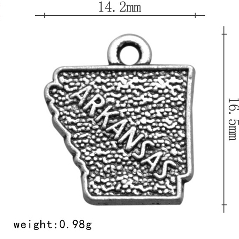<font><b>ARKANSAS</b></font> US Map Pendant Simple Charms Jewelry Accessories For DIY Handmade Keychain Necklace Bracelets Making image