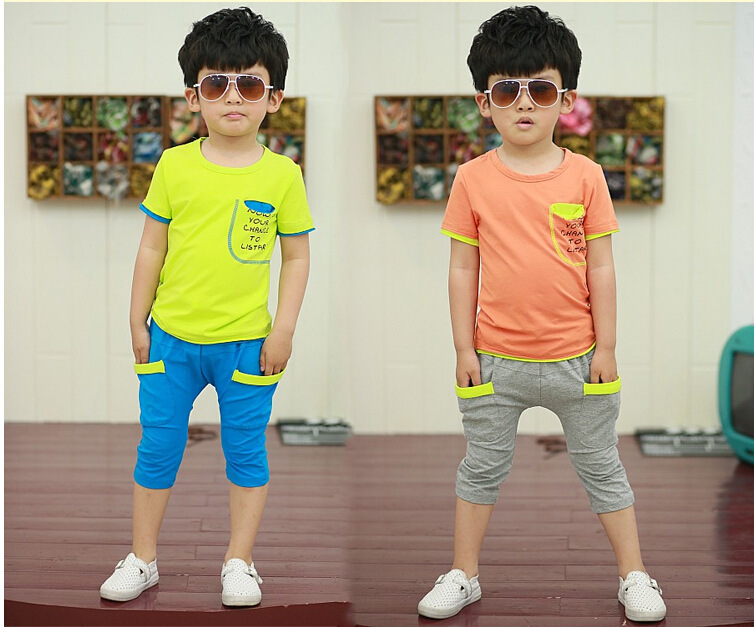 boys girls short sleeve T-shirt  pants 2pcs/set children sport clothes sets letter summer wear