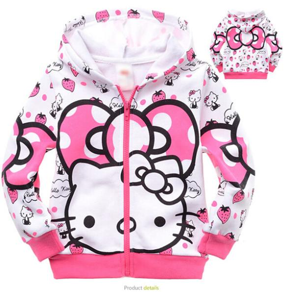 2015 New Hello Kitty Hooded Outfit Sweatshirt Casual kids Clothes Spring Autumn Winter For Girls Kids Children Coat