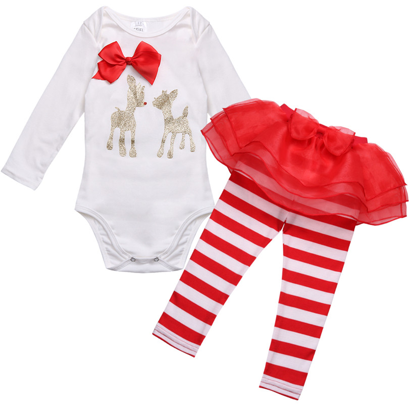 3 18m newborn infant baby girls christmas outfit deer romper with striped pants my first christmas