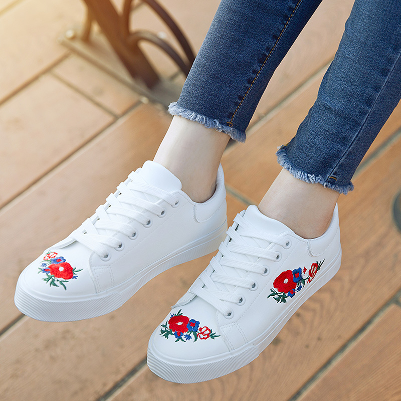 2017 Canvas Shoes Woman Platform Loafers Embroider Creepers Spring Lace-Up Flats Casual Flowers Women Shoes phyanic creepers 2017 leisure lace up silver platform shoes woman loafers fashion flats women brogue shoes 3 colors xdy4257