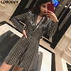 European Style Sparkling Sequins Female Casual Blazers Fashion Slim Jacket Long Coat Singer Dancer Stage Performance