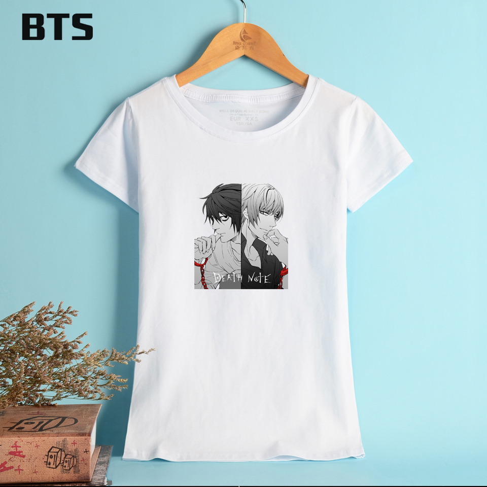 BTS Death Note Basic T Shirt Women White Anime Pattern Oversized T Shirt Streetwear Simple Design Breathable Tees And Tops XL