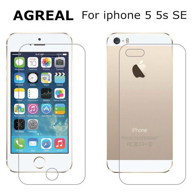 2pcs/lot Front + Back Premium Tempered Glass for iPhone 5 5s 5se Anti-scratch 9H 0.26mm 2.5D Screen Protector Film for iPhone 5S