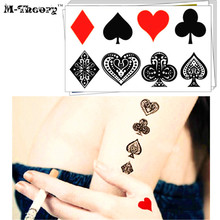 M-theory Temporary Fake Tattoos Body Arts Small Poker Signs Flash Tatoos Stickers 10.5x6cm Bikini Swimsuit Dress Makeup Tools