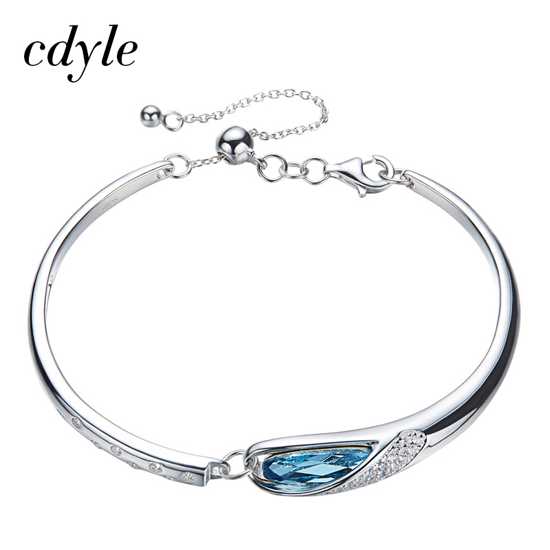 Cdyle Bracelets Women Bracelet For Women Bangle Austrian Rhinestone S925 Sterling Silver Fashion Jewelry Elegant Chic Bijous New elegant rhinestone bird decorated bracelet with ring for women