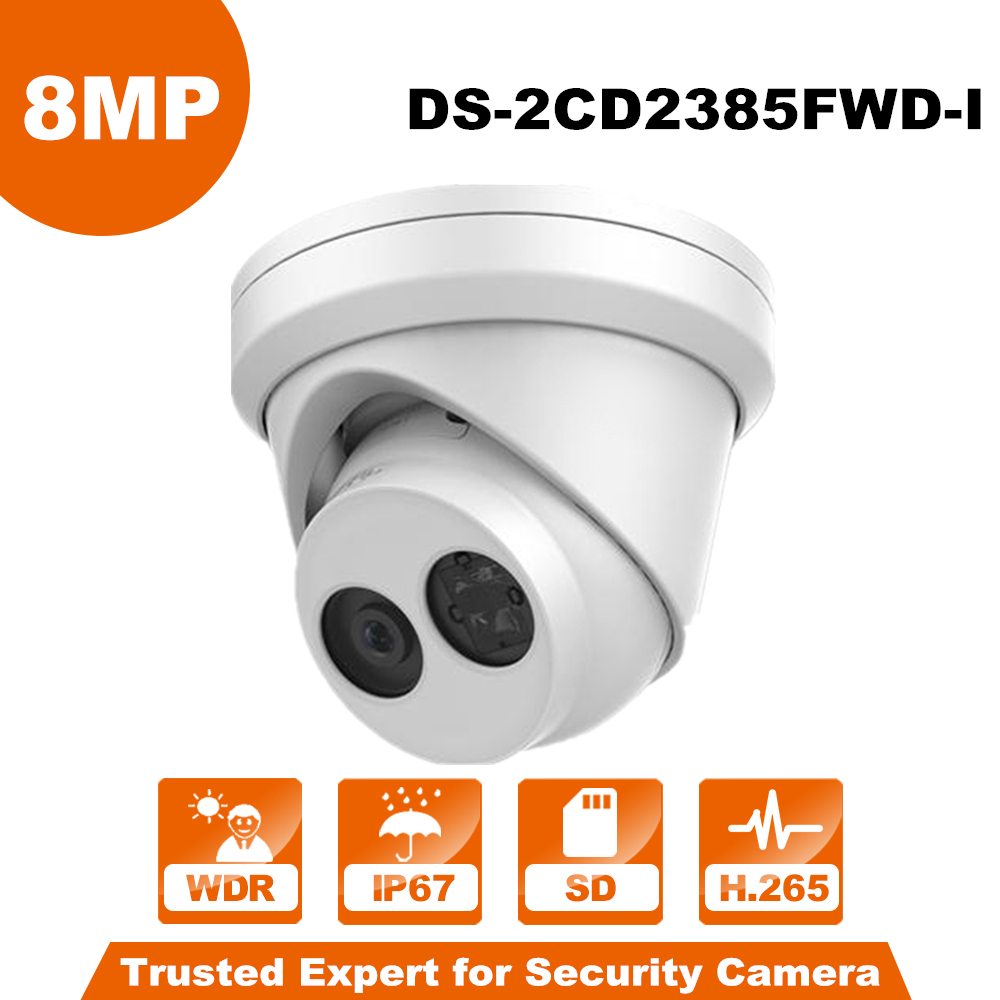 HiK Original DS-2CD2385FWD-I H.265 CCTV IP Camera 8MP Network Turret Camera Built-in SD Card Slot PoE IP 67 IR 30m hikvision original international h 265 8mp mini outdoor ip camera ds 2cd2085fwd i 4k bullet cctv camera poe onvif ip67 ir 30m
